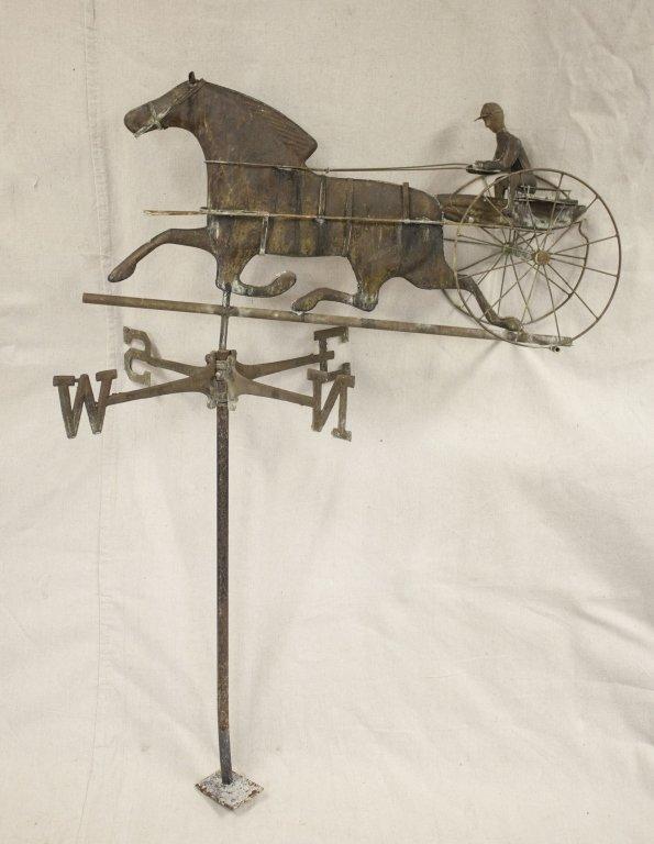 Copper & Bronze Weather Vane w/ Jockey on Sulky