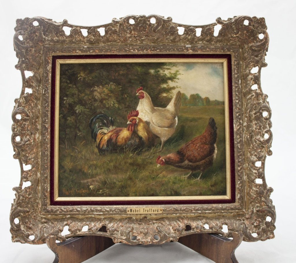 19thC Mabel Trafford Pastoral Painting of Poultry