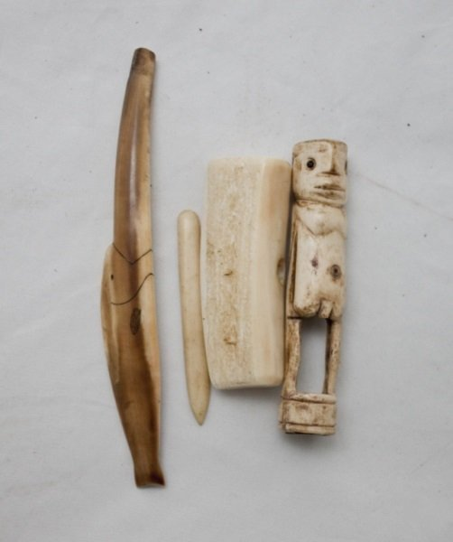 Lot of 4 Inuit Ivory Pieces. 2 Tools & 1 Figurine