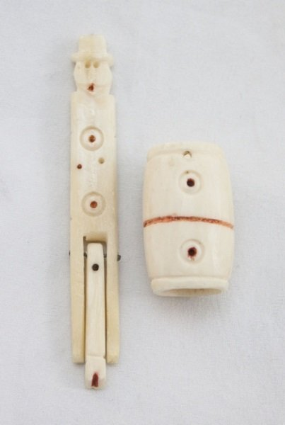 19th C Primitive Ivory Naughty w/ Man in Barrel