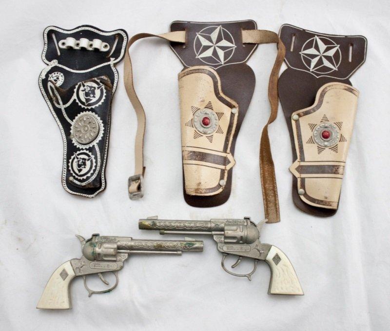 Lot Of 2 Young Buffalo Bill Cap Guns w/ 3 Holsters
