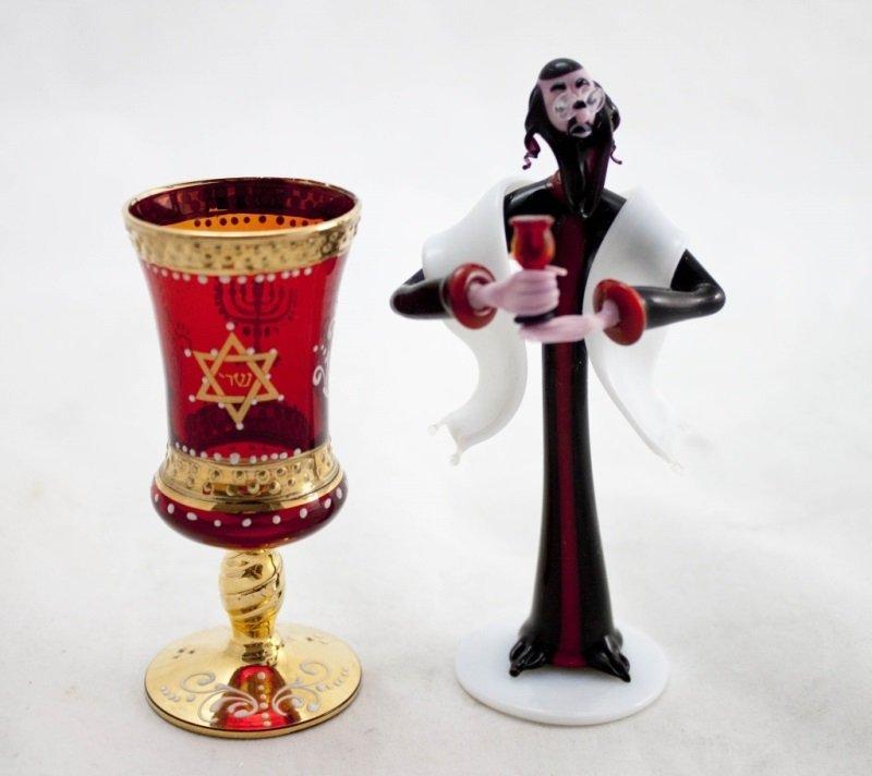 Art Glass Rabbi w/ Murano Ruby Glass Kiddush Cup