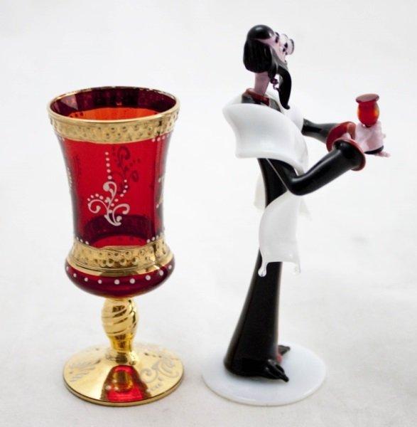 Art Glass Rabbi w/ Murano Ruby Glass Kiddush Cup - 2