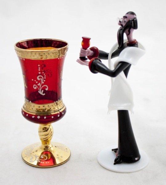 Art Glass Rabbi w/ Murano Ruby Glass Kiddush Cup - 4