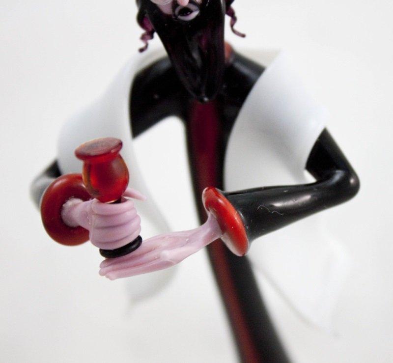 Art Glass Rabbi w/ Murano Ruby Glass Kiddush Cup - 7