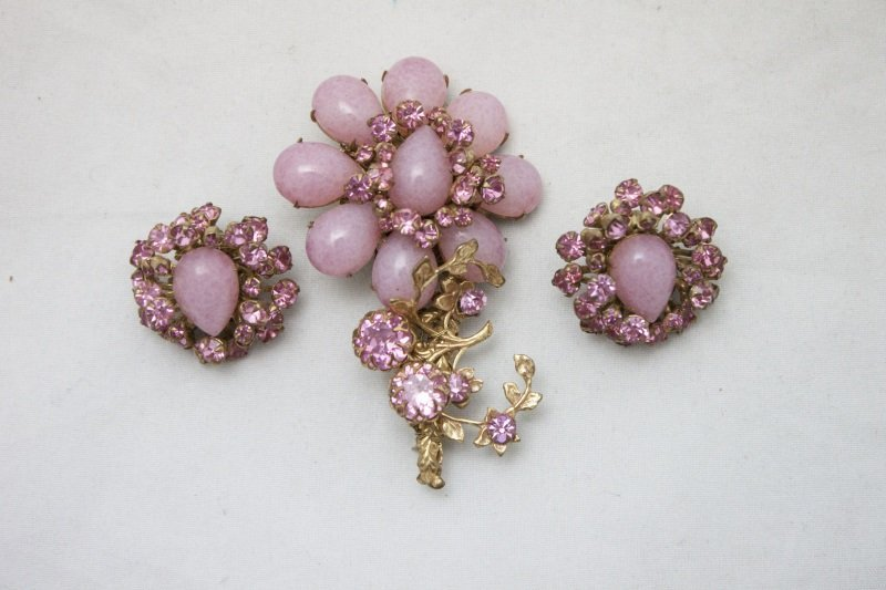 Vintage Miriam Haskell Flower Brooch & Earrings