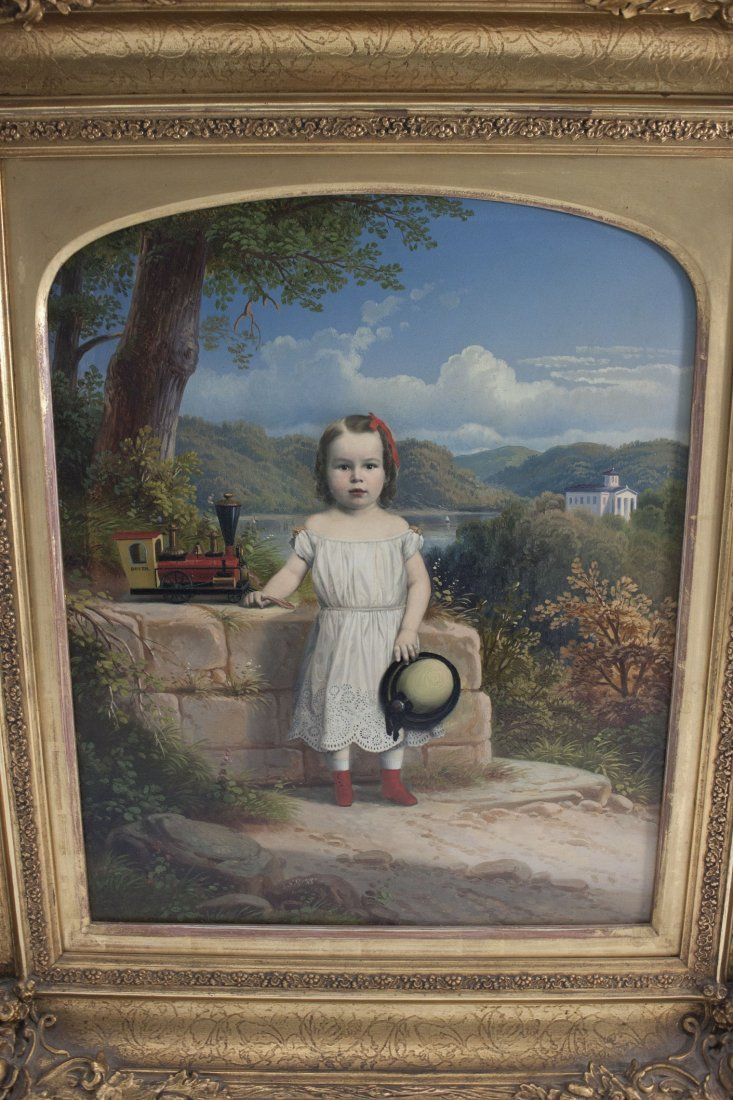 19thC Painting Young Boy w/ Toy Train sgn J.N. Glogger
