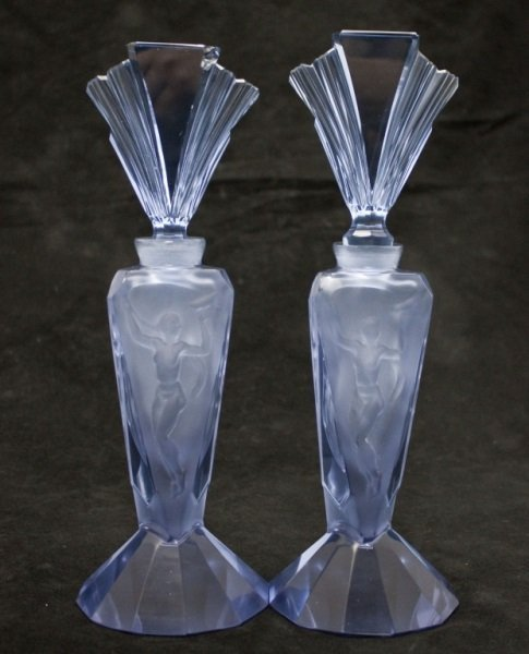 Pair Of French Blue Perfume Bottles w/ Nudes