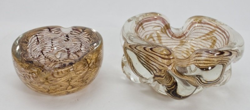 2 Murano Art Glass Weighted Ash Trays
