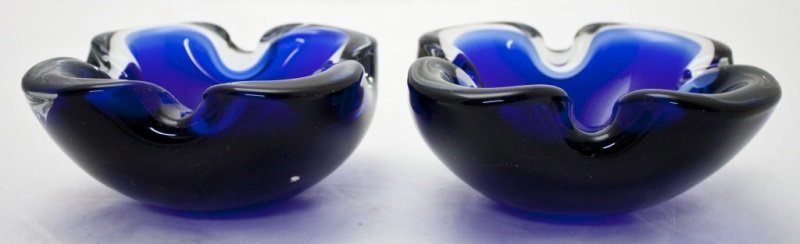 2 Murano Cobalt Blue Art Glass Ashtrays
