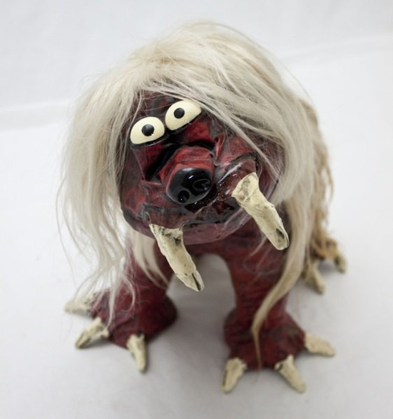 "Paper Mache Figure ""Hair Ball"" by B. C. Sommerfeld"