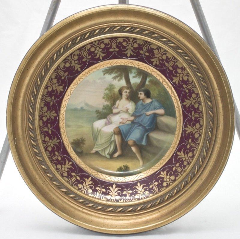 19thC Royal Vienna Plate Enamel w/ Gold Rim