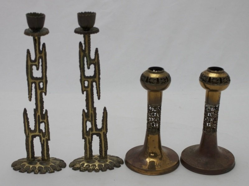 2 Sets Of Copper & Bronze Candlesticks