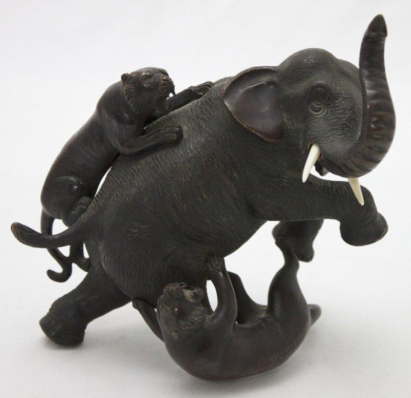 Meiji Bronze Sculpture Elephant w/ Tigers