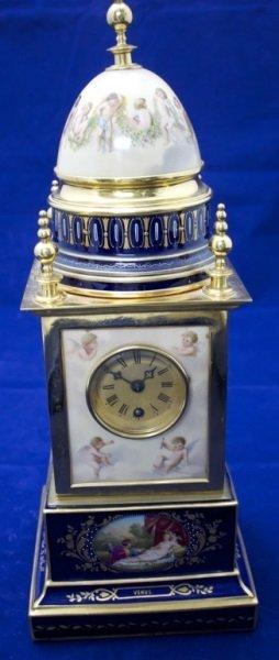 "19thC Royal Vienna ""Venus"" Porcelain & Brass Clock"