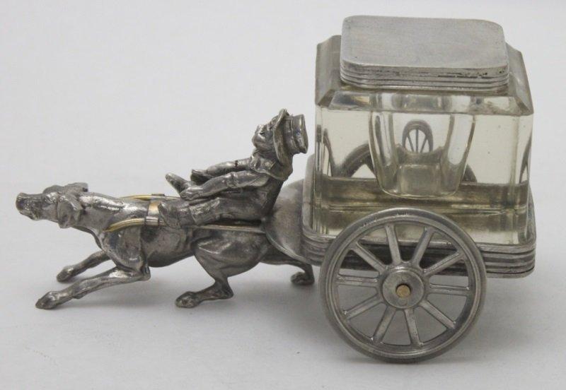 19C Quadruple Plate Crystal Inkwell Boy Dog Cart