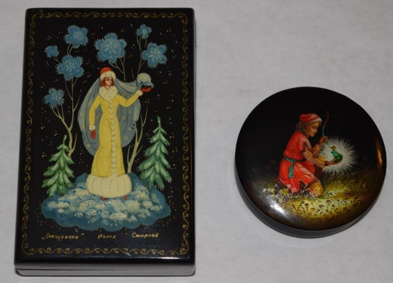 2 Soviet Era Hand Painted Russian Lacquer Boxes