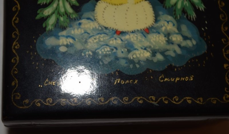 2 Soviet Era Hand Painted Russian Lacquer Boxes - 7
