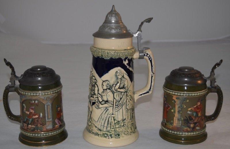 3 Beer Steins 2 Gerz  Arts & Crafts 1 Traditional