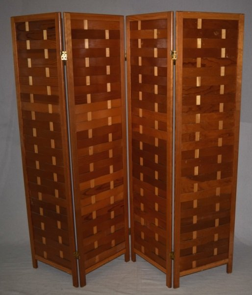 Mid-Century Modern Woven Wood Slat Room Divider