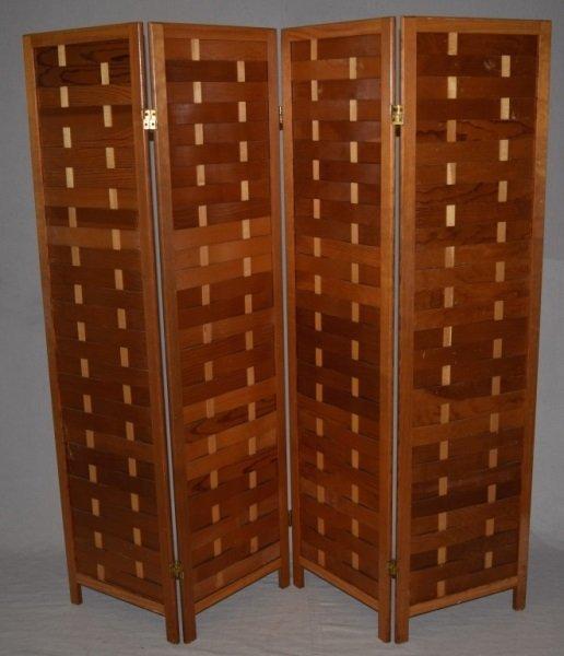 Mid-Century Modern Woven Wood Slat Room Divider - 2