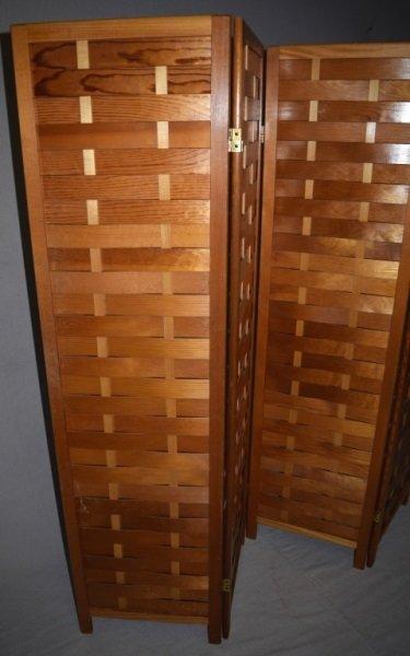 Mid-Century Modern Woven Wood Slat Room Divider - 3
