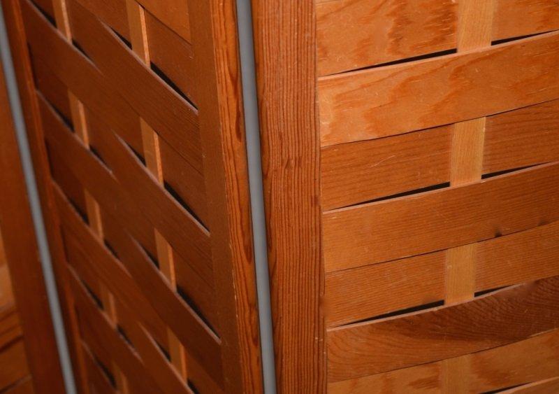 Mid-Century Modern Woven Wood Slat Room Divider - 5