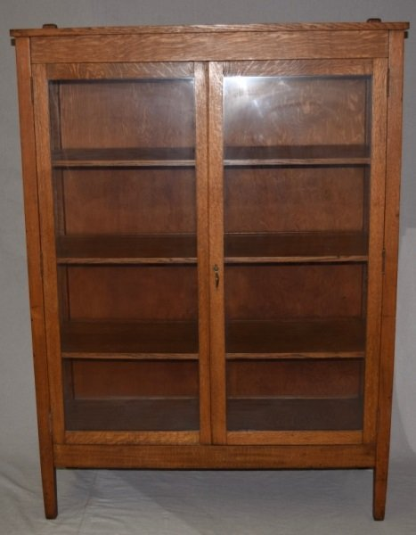 "Mission Oak ""Larkin"" Bookcase Display Cabinet"