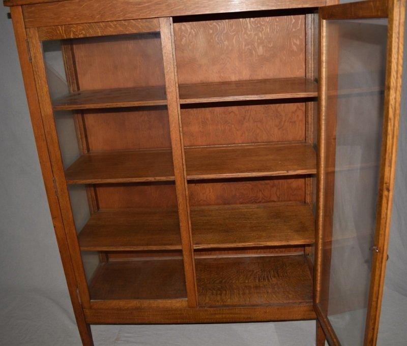 "Mission Oak ""Larkin"" Bookcase Display Cabinet - 2"