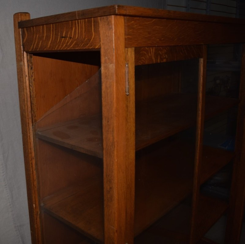 "Mission Oak ""Larkin"" Bookcase Display Cabinet - 3"