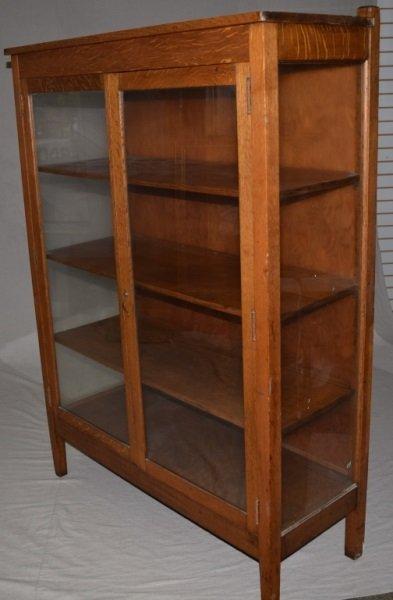 "Mission Oak ""Larkin"" Bookcase Display Cabinet - 4"