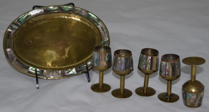 Mother of Pearl/ Brass Sanborn Style Aperitif Set