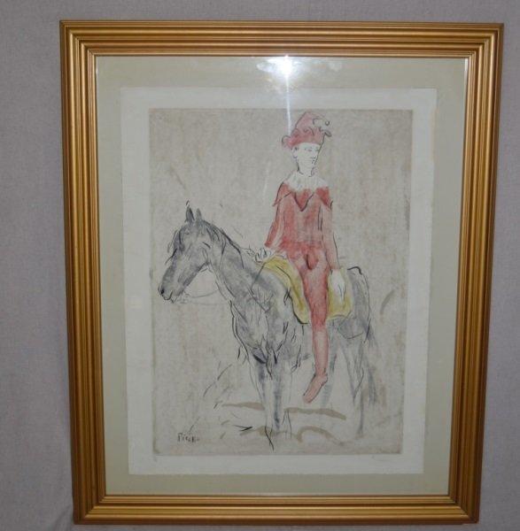 Pablo Picasso Lithograph Harlequin on Horseback