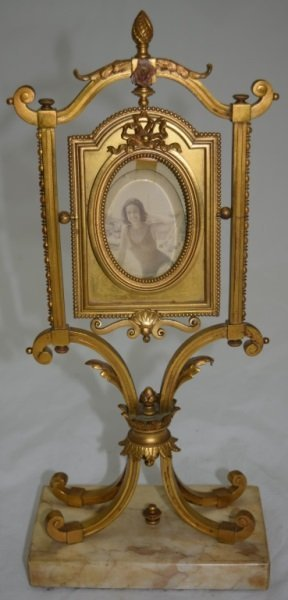 19C Louis XV Bronze Picture Frame, Ormolu & Marble