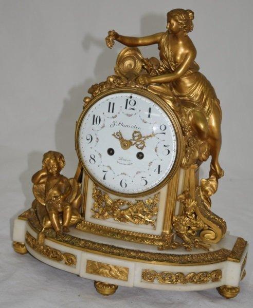 19C Louis XV Dore Bronze White Marble Mantle Clock