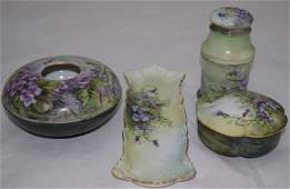 Limoges Hand Painted Porcelain Dresser Jar Set