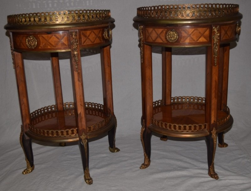 2 19th C Louis XVI Marble Top Gallerie Side Tables