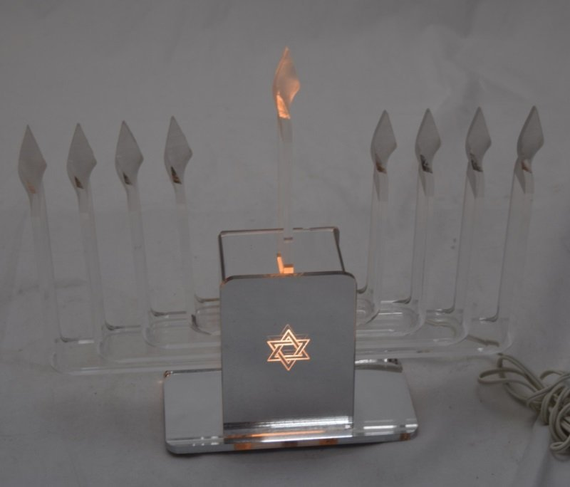 1970's Lucite & Glass Mirrored Electric Menorah