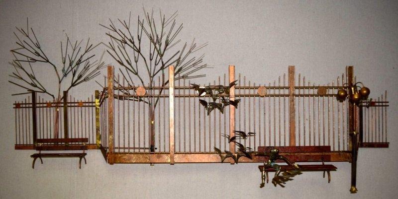 Curtis C Jere Wall Sculpture Park Bench Boy Birds