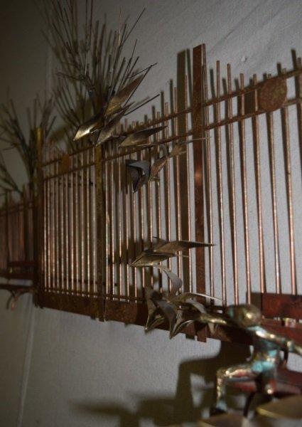 Curtis C Jere Wall Sculpture Park Bench Boy Birds - 3