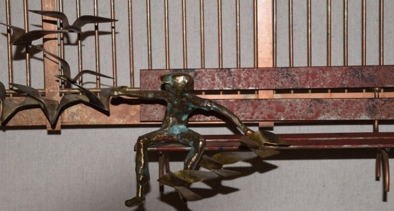 Curtis C Jere Wall Sculpture Park Bench Boy Birds - 5