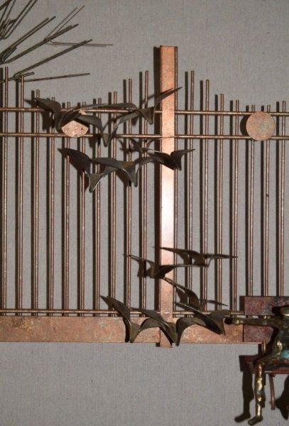 Curtis C Jere Wall Sculpture Park Bench Boy Birds - 7
