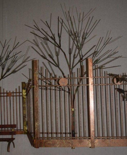 Curtis C Jere Wall Sculpture Park Bench Boy Birds - 8
