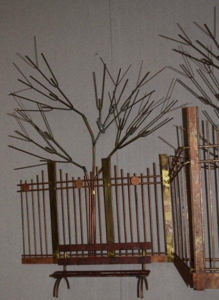 Curtis C Jere Wall Sculpture Park Bench Boy Birds - 9