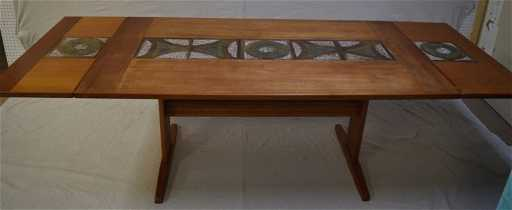 Mid Century Modern Dining Table 2 Leafs Tile Inlay