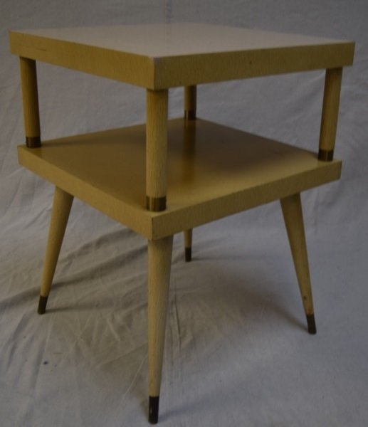 mid century modern painted two tier end table