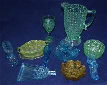 10pc Green, Blue Vaseline & Uranium Glass Objects