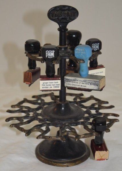 Victorian Cast Iron & Brass Rubber Stamp Holder