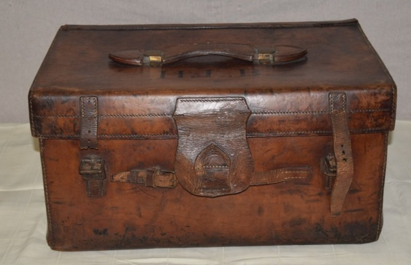 19thC Leather & Brass Mounted Traveling Hat Trunk