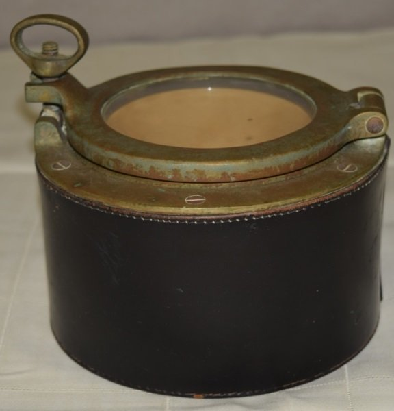 Leather Pottery Lined Tobacco Box w Port Hole Lid